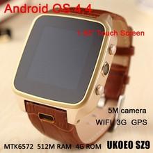 SZ9 5mega pixels camera MTK6572 dual core 512M RAM 4G ROM waterproof WCDMA WIFI GPS 3G wrist android 4.4 smart watch
