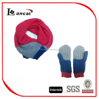 Hot style ladies plain stitch knitted scarf gloves set,100% acrylic