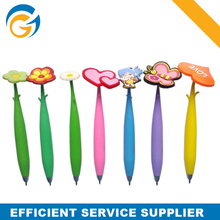 Promotional Rubber Body Ball Pen with Flower Top