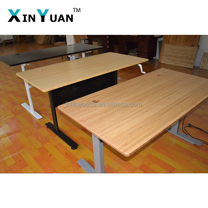 Sit To Stand Manual Crank Desk With Real Bamboo Top Or