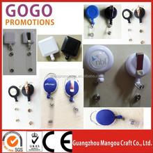 promotional cute custom design retractable badge reels, Solid Color Round Badge Reel / Belt Clip & Clear Vinyl Strap