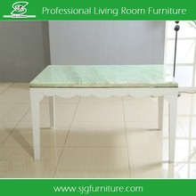 High Gloss MDF Dining Table Design with Marble Top