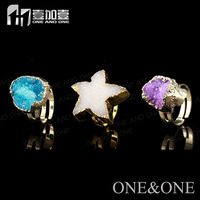 Wholesale Druzy Rings Models Rings for Women Mixshape and Mixcolor Shinny Gemstone Jewelry Factory Price