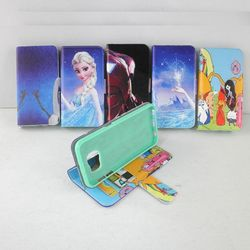 Cute cartoon leather stand wallet mobile phone case for samsung galaxy s6 egde s6 s5 s4 s3 wholesale
