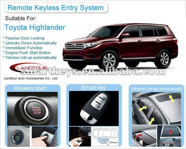 Engine Push Start Button Smart Key System For Toyota Highlander - Buy Engine Smart Start Push ...