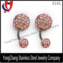 """2015 Hot Sale peach color Double Clay 16Ga-3/8"""" Belly ring"""