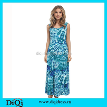 2015 Womens Summer Blue Beach Long Dress Girls Frock Designs Muslim Maxi Dress