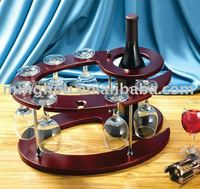 antique wooden wine rack/wine bottle holder/wine rack with glass holder ,made of colored wood