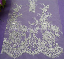 white cotton indian lace embroidery fabric