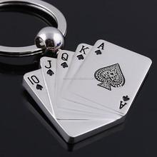 Poker Key Chain 10 J Q K A Alloy Keychains Versatile Metal Key Ring