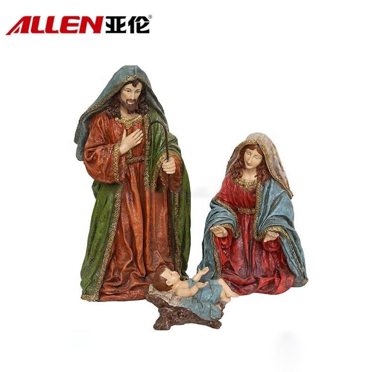 Nuovo arrivo indoor decorazione del mestiere in fibra di vetro sacra famiglia statua fatti a mano di natale presepe