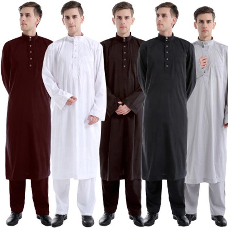 Nouvelle couleur unie Du Moyen-Orient robes drosh africaine soudan musulman abaya hommes soie émiratie thobe