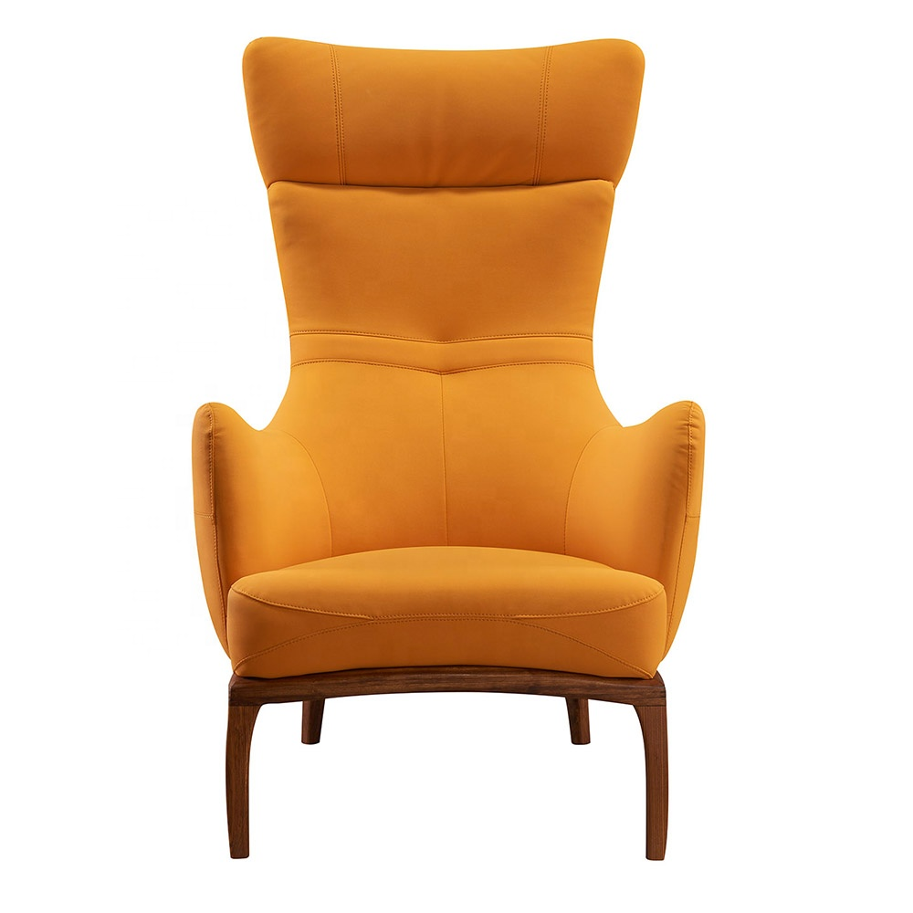 Modern Furniture Reading Room Statement Chair Solid Wood Yellow Leather Upholstered High Wingback Arm Chair