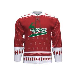 Toptan özel noel tasarım buz hokeyi jersey logo yazdırabilirsiniz ve takım adı