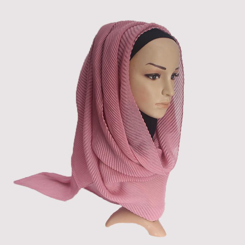 Novas mulheres plissadas cachecol dobra hijab muçulmano 2019 rosa de algodão de linho puro