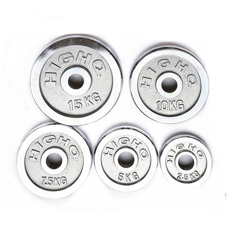 Fitness resistente hierro fundido Chrome 20kg barra placas de peso de levantamiento de peso placas de parachoques