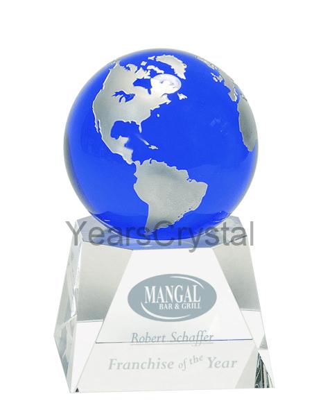 مظهر بلوري الأزرق غلوب كريستال <span class=keywords><strong>جائزة</strong></span> مكتب مكتب الديكور