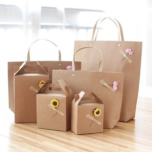 Wholesale custom printing shopping packaging brow kraft paper gift bag with logo