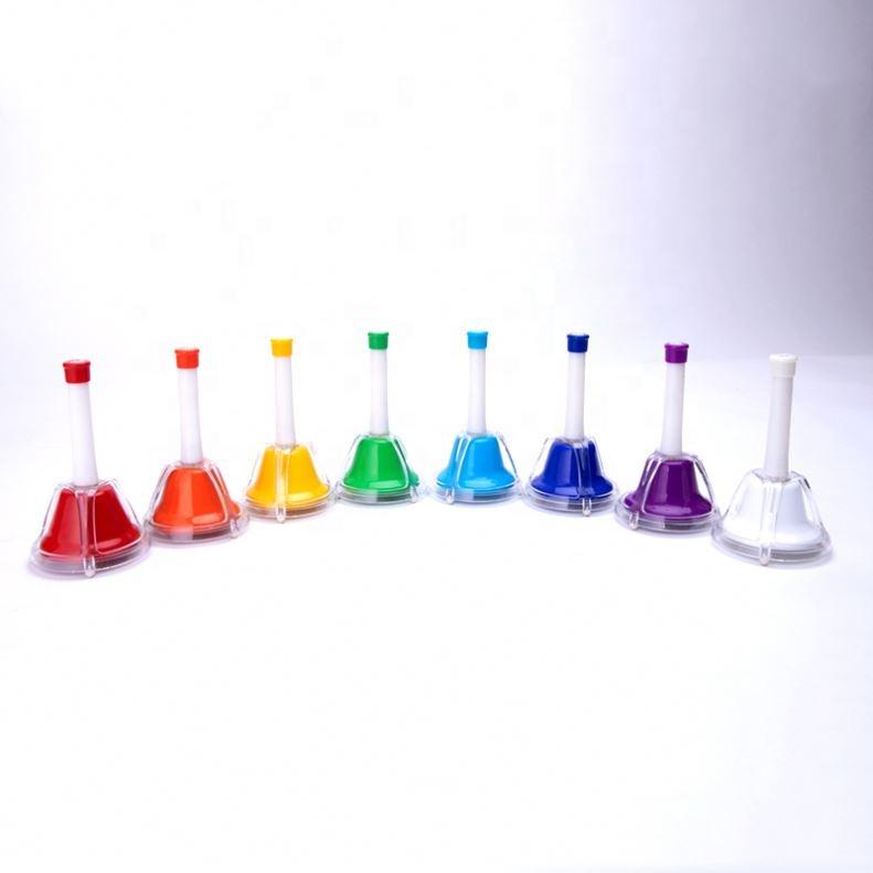 Nuevo diseño Orff la enseñanza Sida y juguetes de percusión 8 mano campanas de conjunto de los niños juguetes educativos