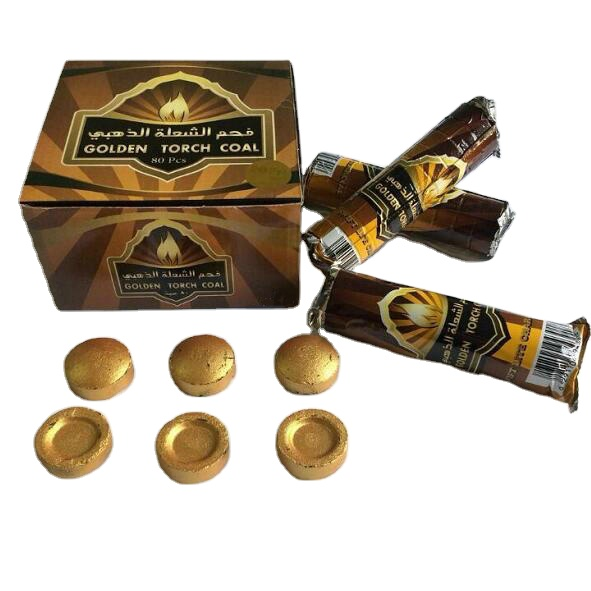 Original goldene taschenlampe kohle hersteller goldene quick-<span class=keywords><strong>weihrauch</strong></span> straße shisha holzkohle Arabischen carbon warme