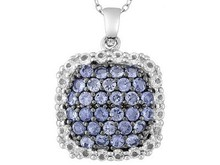 Round Tanzanite With Round White Topaz Sterling Silver Pendant With Chain, Silver Solder Jewelry, Silver Jewelry Party, Egyptian
