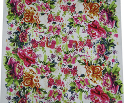 """Fabric White Cotton Voile Floral Pattern Sewing 44"""" Quilt Sofa Cover By the Yard FBC3357"""