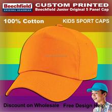 orange toddlers customised printed cotton caps