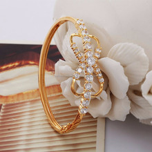 New Trendy Items AAA+ Cubic Zirconia 18K Real Gold Plated Gorgeous Bowknot Bangle