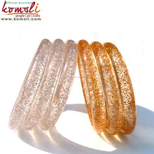 Golden Silver Glitters Filled Transparent Acrylic, Resin, Lucite Handmade Bangles, Bracelets & Cuffs - Customised Product