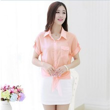 (Summer) Factory Price Elegent Chiffon Style Shirt For Office Lady,Fashion Breathable Short Sleeve Chiffon Style Shirt For Lady