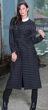 2015 new season winter women long coat / trenchcoat stripe made in Turkey istanbul with belt