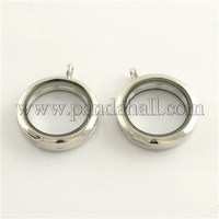 Alloy Photo Frame Living Memory Floating Locket Pendants, with 2 Pieces Glass Cabochons, Platinum, 35x29x7mm, Hole: 4mm
