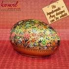 Papel mache ovo de páscoa caixa- cor multi floral golden garden- caixas do trinket- pintada à mão os ovos de páscoa