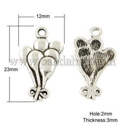 Tibetan Style Pendants, Cadmium Free & Nickel Free & Lead Free, Parachute, Antique Silver, 23x12x3mm, Hole: 2mm