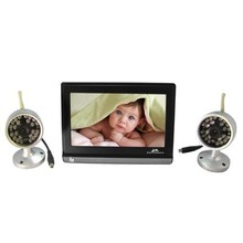 7inch TFT LCD Baby Monitor Receiver 2.4GHz Wireless + 2 Color Cameras