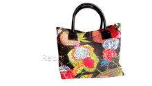 RTHHB-34 Jaipuri Kantha Stitching Bengali Handmade Leather Canvas Ladies Tote Shopping Bags