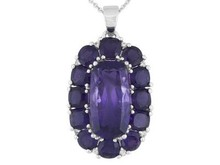 Rectangular, Square Cushions & Round African Amethyst,Zircon Silver Pendant W/Chain, Overstock Silver, Jewelry Overstock