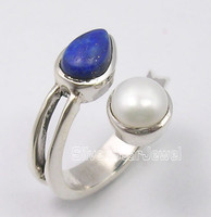 .925 Pure Silver NAVY BLUE LAPIS LAZULI & AAA WHITE PEARL LOVELY Ring Any Size