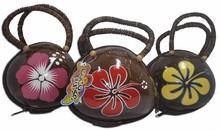 Hawaiian Coco Shell Bag with Painting Flower Design - Hand Bag Purse