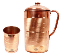 Handmade Pure Copper Silver Touch Jug Pitcher With 1 Copper Glass Cup ayurveda
