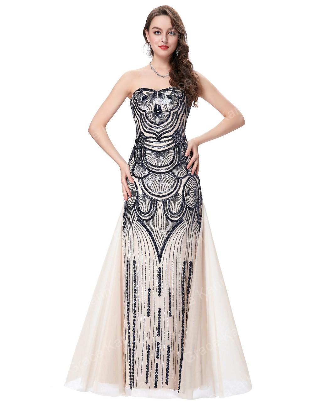 Grace Karin 2016 New Strapless Sweetheart Long Sequins Beige Tulle ...