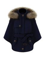 Fur Hooded Winter Warm Belted Wool Cape Coats Camel