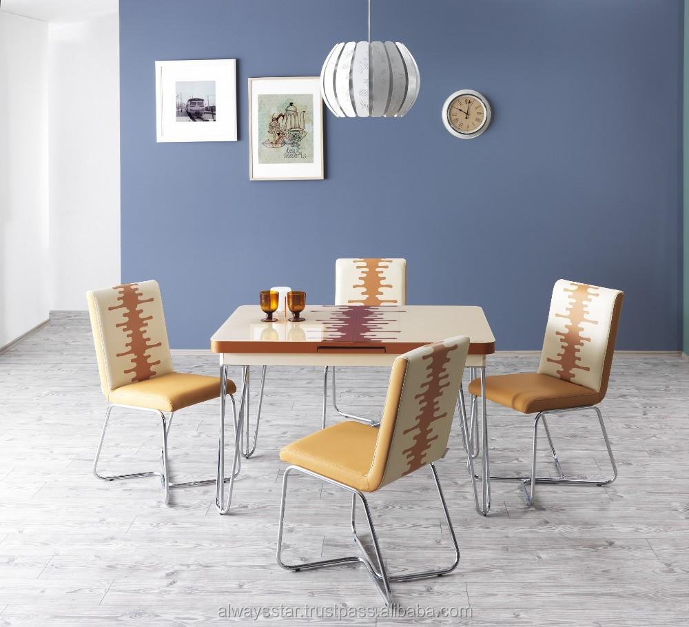 공간 절약 화이트 강화 유리 현대 식탁 의자 세트, 홈 가구-세트 ...