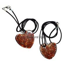 Orgone Jasper Heart Pendants With Leather Code : Wholesale Pendants