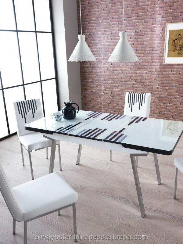 Turquesa Extensible Mesa de comedor de madera moderna con estilo ...