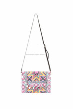 Colorful Cross Body Bag with Removable Leather Strap - Pink