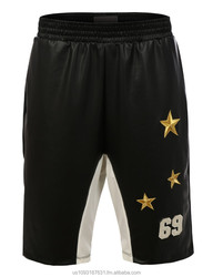 Mens PU Faux Leather Basketball Shorts with Gold Stars (MADE IN USA)