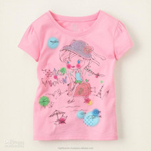 lovely baby pink color fashion summer girls t shirt