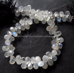 Natural Rainbow Moonstone Drops Briollette Loose Beads