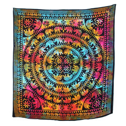 Bohemian Double Bedspread Elephant Printed Indian Mandala Tapestry Wall Hanging Hippie Throw